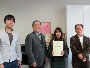 短期研修生の三輪美季さん、卒業のご報告に来て下さいました
